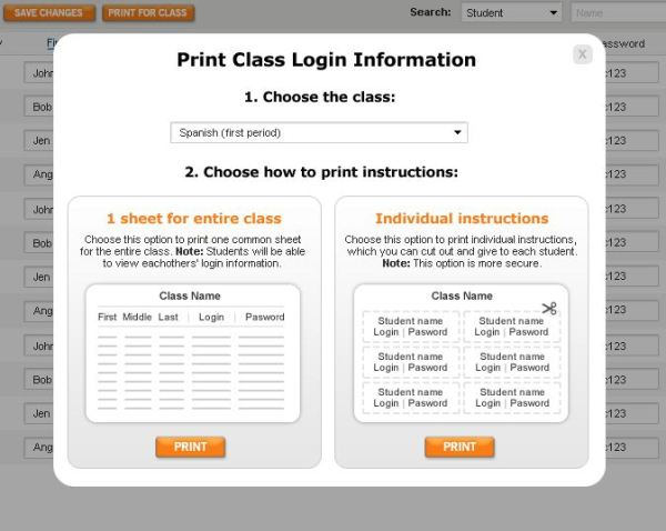 Voki Classroom - Print Class Login Information
